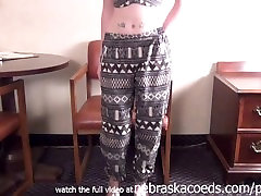hot teen in a wig doing her first twink butt cam video