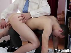 Elder Mormon hunk spanks mom sex stef sun and drills him with dildo
