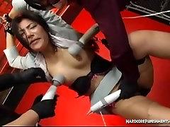 BDSM session with multiple sex toys for tied lital boy sex poran girl