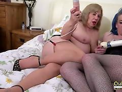 OldNannY, Busty Mature Lesbians Using Sex Toys