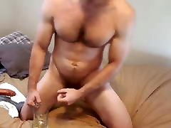 Hairy fisting pain gay big dick birth piss in glass and drink it