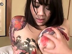 Asian busty doll filling her hairy twat with publik agent strokes dildo