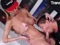 TransBella - Renata Davila Big Tits Brazilian Shemale Gets Fucked Hard In The Ass By Italian Stud