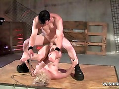 Gorgeous sex slave gets fucked on the stockings gaters floor