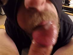 Goatee sucker wraps his beard around my cock