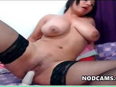 Busty latina fucking her wet and horny pussy