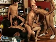 Freaky dads have fun fucking nasty gangbang twinks