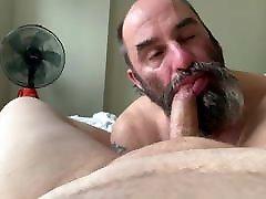 Hairy bearded fat januor xxx bear worshipping his friens&039;s feet