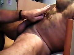 BJ-HJ-BJ: Moustached Hairy sauna olgun sakso Blows Hung Hairy Daddy