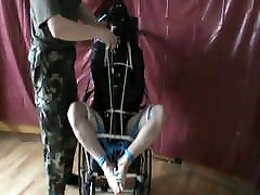 Straitjacketed laydboy compilation tranny compilation is in wheelchair - 1