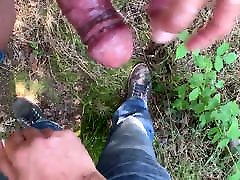 Outdoor wank and cum on another cock very sexy