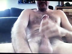 Hairy daddy bear edges his huge hung monster thick cock