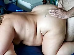 Blonde BBW Blindfolded and spitroasted