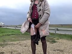 transgender travesti sounding dildo outdoor road 7a