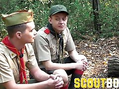 ScoutBoys Muscle bear fucks twink sons in the woods