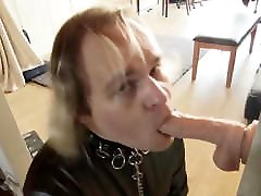 Submissive Latex Twink throats dildo, face slapping