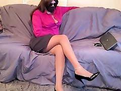 Crossdresser pantyhose leg tease and shoe dangle