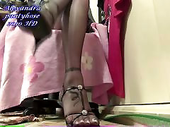 my black pantyhose with sexy sandals white nails 02