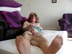Jerking off in Pantyhose Tights and barefoot