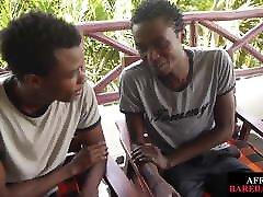 Nubian fuck in baroom tugs dick while getting barebacked