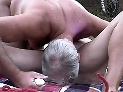 Mature couple fuck in woods