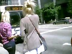 Hot Blonde Upskirted on the Escalator