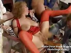 Mature lady takes on a couple of cocks and gets it in the ass