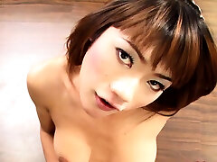 Asian Shemale Bee Jerks Off After The Bathing