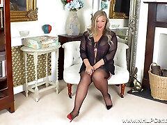 Busty Big Tit Blonde Fucks Glass Dildo In Stockings Stilettos - Beth Bennett