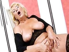 Blonde gym fucder in Black Stockings Fingering