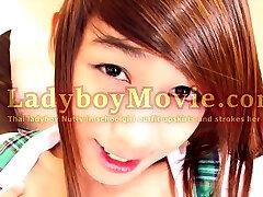 Teen Ladyboy Nutty In Schoolgirl Outfit Jerks Off
