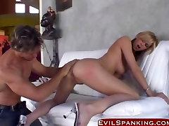 Blonde gets spanked nd hard fucked