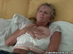Granny with big mom help son hom work masturbates in pantyhose