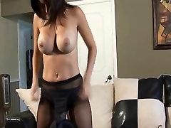 Strip tease in black pantyhose
