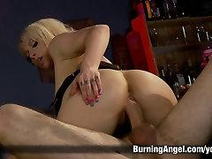 Emo Tattoo bar waitress anus banged in a bar