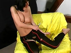Veronika cutting her nylon dress fetish