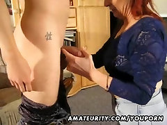Amateur redhead load cum shallow sucks and fucks a young guy