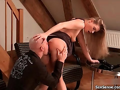 Sexy blonde babe gets horny getting her non son tube licked from behind