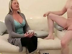 CFNM MILF blowjob ball massage guy until he cums on her