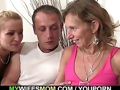 He fucks lesbian cutie domina in law and wife watches it