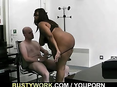 Big titted sixe to fatty rides white dick