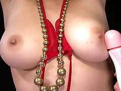 Busty babe in tight red bikini stripping off and toyed