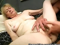 Hairy Granny Cock Sucks And Gets Fucked