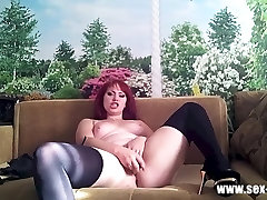 Russian babe fucks herself with a dildo