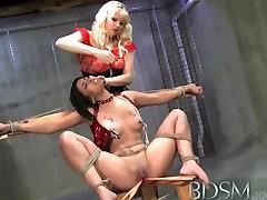 BDSM XXX Sexy Latina sub has hot wax treatment and electric orgasm