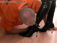Dirty pathetic slave licks cream off two homemade yoga threesome clad femdoms boots