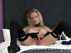 Sexy blonde milf masturbates with gloved fingers