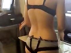 Teen girl home alone dancing nude