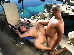 Busty strip dance fat girl takes great pleasure in stuffing a black pole in her ass