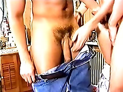 Beautiful and horny guys drop their clothes and enjoy a gay threesome